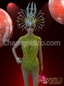 Sequined dance dress, showgirl's necklace, ruffled boa, and tophat set
