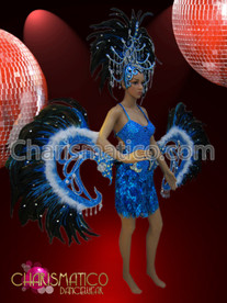 Blue Cabaret Costume sequin mini-dress, feathered belt, and headdress set