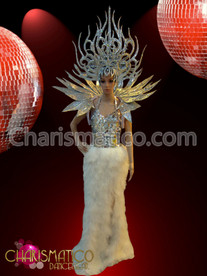 CHARISMATICO Silver and White feather Pageant gown with Headdress and backpack