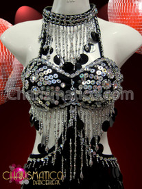 CHARISMATICO Silver bead accented Black Jumbo sequin sexy Latin Dance dress