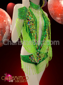 """Collar and Cuffs"" Green O-ring Leotard with Rainbow Crystals"
