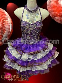 Iridescent Purple and white organza ruffled Silver accented Sissy Dress