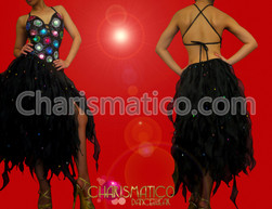 Crystal and bead accented Black organza flame ruffled Latin dress