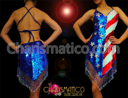 Halter-style Red, white, and Blue Sequin 4th of july flag dress with fringe