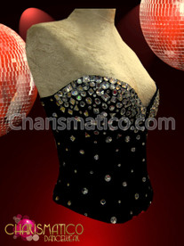 Short waisted Crystal rhinestone accented sleek Black Diva showgirl Corset