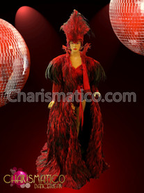 Diva's Deep Red feather over gown jacket with matching headdress