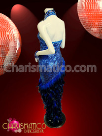 CHARISMATICO High neck royal blue sequin gown with asymmetrical feather skirt