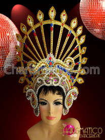 Ruby, Sapphire and amethyst accented Gold Drag Queen Diva Headdress