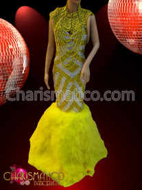 CHARISMATICO Striped yellow and Silver Pageant Gown with Yellow beaded necklace