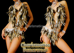 Brown Feather Samba Burlesque Dance Dress