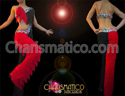 Asymmetrical Black and red fringe dance pants and fringe top