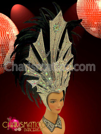 Diva's Silver glitter crystal and mirror accented Black feather headdress