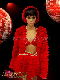 CHARISMATICO Drag Queen Ruffled red jacket and matching pearl accented tier skirt set