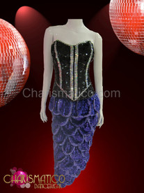 Two-piece corset and scale skirt in black and purple sequins