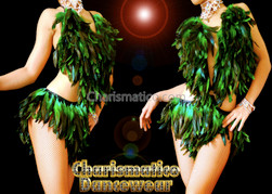 GREEN Feather Samba Burlesque Dance Dress