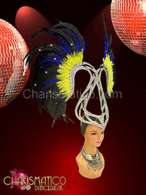 Heron inspired silver glitter Art Deco styled yellow feather headdress
