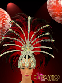 Silver mirrored and crystal cap styled star-burst red feather headdress