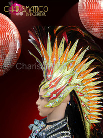 Diva Drag Queen Golden glitter Mohawk inspired Red feather headdress