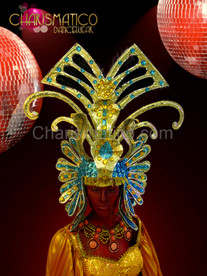 CHARISMATICO Golden Light Blue Egyptian Pharaoh style Diva Drag Queen Headdress