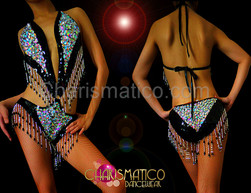 CHARISMATICO Black and silver Showgril sequin o-ring diva leotard with beaded fringe