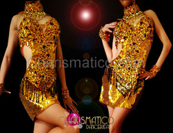 Metallic gold sequin Diva dance dress with shimmering black accents