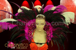 Fuchsia, black, and white classic showgirl's feather backpack with ostrich plumes.