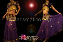 Lushly adorned Divine purple and gold Arabian Belly Dancing costume
