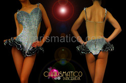 Illusion cutout silver sequin leotard with black organza hip ruffles