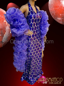 Light purple sequin pageant gown and matching organza ruffle boa