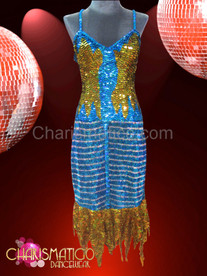 Diva Blue and gold patterned sequined dance dress with flame hem