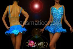 CHARISMATICO Blue Illusion cutout sapphire, topaz, and crystal covered hip-ruffle leotard
