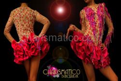 Showgirl Nude illusion beaded fuchsia lace accented satin tutu dance dress