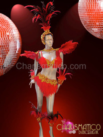 Complete eight piece Gold Accented orange Carnival Samba costume set