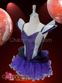 Purple Shoulder accented silver net Gaga corset and matching tutu