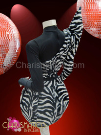 Asymmetrical black and white zebra print balloon skirt Lady Gaga Costume