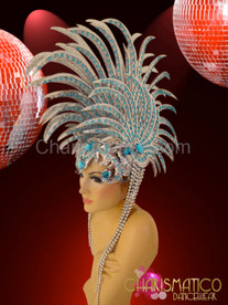"Beaded Silver glitter ""lionfish"" headdress with sky blue crystal accents"