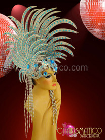 "CHARISMATICO Beaded Silver glitter ""lionfish"" headdress with sky blue crystal accents"