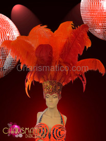 CHARISMATICO Diva Showgirl's Tall cap orange sequin accented ostrich plume headdress