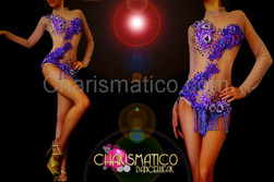 Nude illusion purple sequin and beaded appliqué leotard with beaded fringe