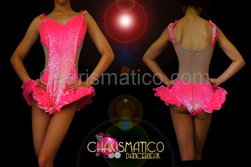 Diva's Neon Pink Iridescent sequined cutout illusion hip-ruffle Dance leotard