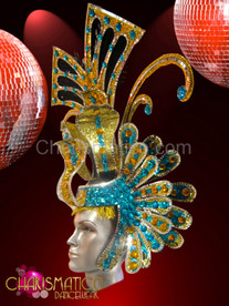 Blue and amber Golden glitter drag queen headdress with mirror tile