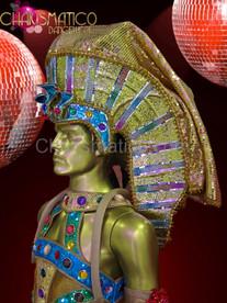 Male Blue and metallic gold glitter sequin Egyptian pharaoh headdress