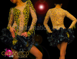 CHARISMATICO Nude illusion Black appliqué and ruffle dress with gold beading