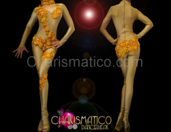 High neck nude toned catsuit with golden beaded lace applique