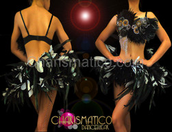 Rio Carnival Black patchwork feather bra and matching skirt belt