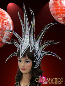 Black edged silver glitter spiked Diva's headdress with Iridescent crystals