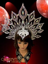 Silver glitter and mirror tiled sun-burst halo headdress with iridescent crystals