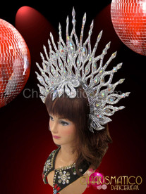 Diva's Iridescent crystal accented silver glitter and mirror halo cabaret headdress