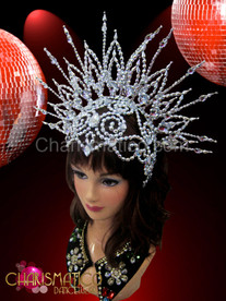 Metallic silver openwork beaded cap styled diva's cabaret halo headdress