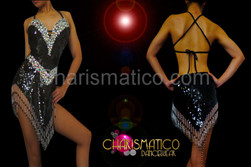 Halter style black sequin Latin dance dress with iridescent crystals